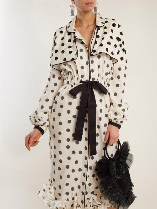 Sequin-embellished polka-dot dress by Johanna Ortiz