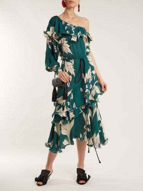 Jade one-shoulder floral-print dress by Johanna Ortiz