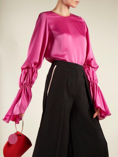 Nezu gathered-detail satin blouse by Roksanda