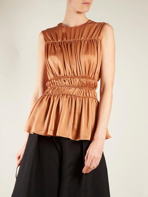 Uma gathered-detail silk sleeveless top by Roksanda