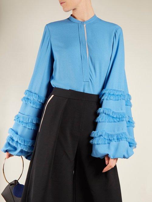 Abeni frayed-detail balloon-sleeved crepe blouse by Roksanda