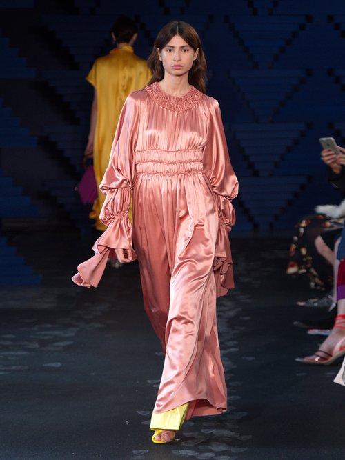 Zoya gathered silk-satin dress by Roksanda
