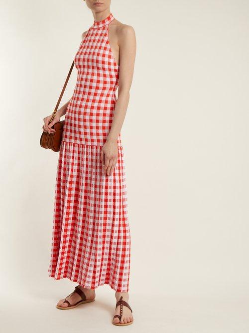Halterneck gingham stretch-knit dress by Sonia Rykiel