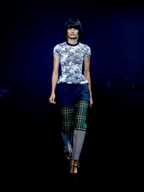 Round-neck camouflage-print wool T-shirt by Balenciaga