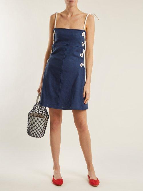 Raft Linen Blend Mini Dress by Staud