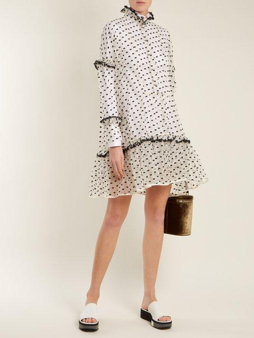 Netti Frilled Neckline Cotton Dress by Cecilie Bahnsen