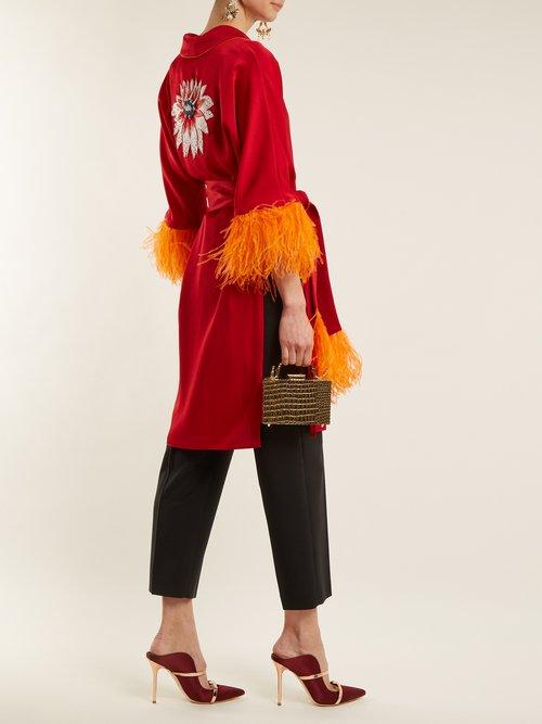Eve Feather Trimmed Satin Kimono by Osman
