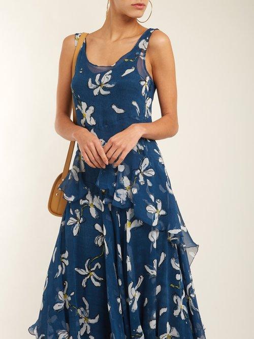 Magnolia-print silk dress by Isa Arfen