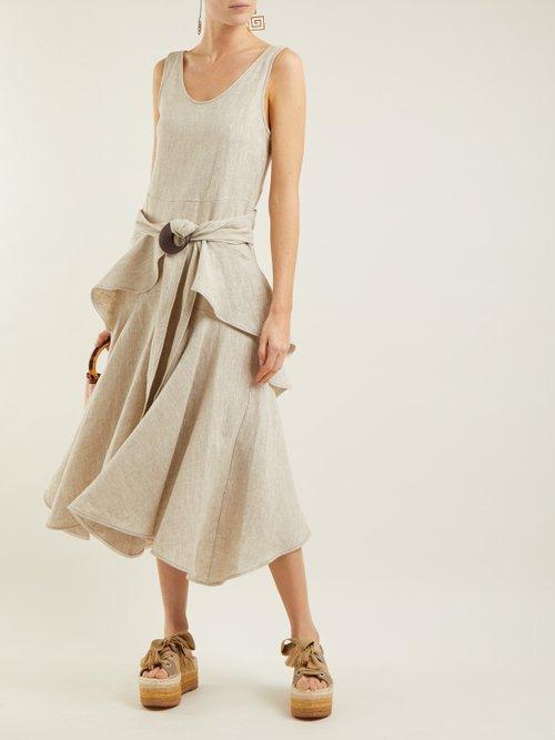 Scoop Neck Linen Dress by Isa Arfen