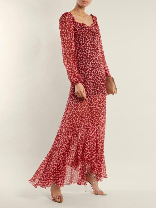Alice poppy-print silk-chiffon gown by Raquel Diniz