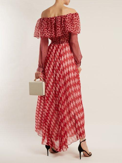Ane Off The Shoulder Silk Chiffon Dress by Raquel Diniz