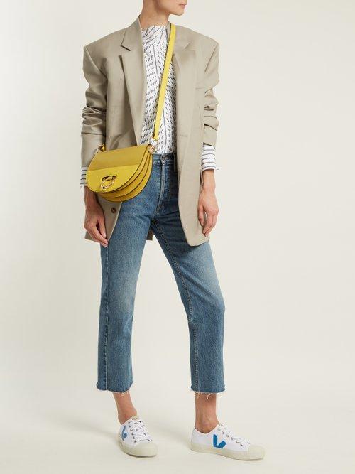 Latch halfmoon leather cross-body bag by Jw Anderson