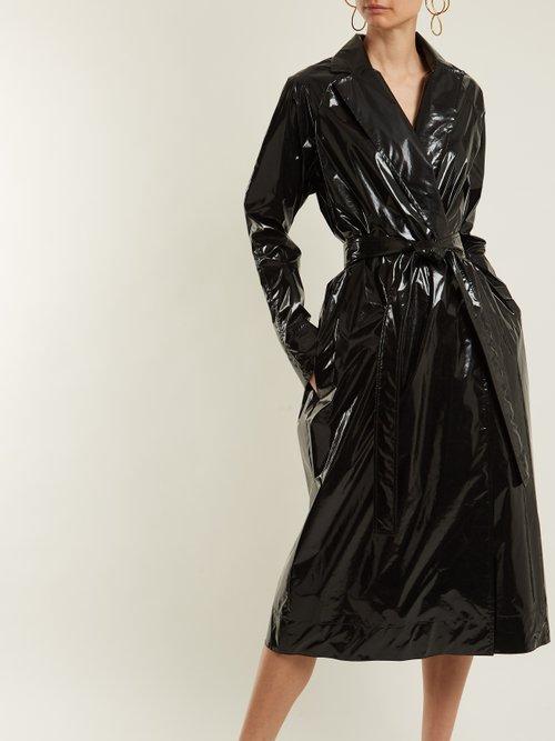 Photo of Rubbish Tie Waist Vinyl Trench Coat by Kwaidan Editions - shop Kwaidan Editions jackets and coats sales