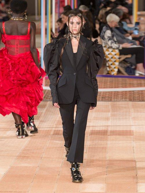 Photo of Contrast Sleeve Wool Blend Blazer by Alexander McQueen - shop Alexander McQueen online sales