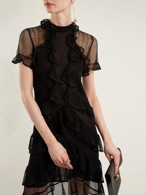 Short-sleeved lace-knit ruffle mini dress by Alexander Mcqueen