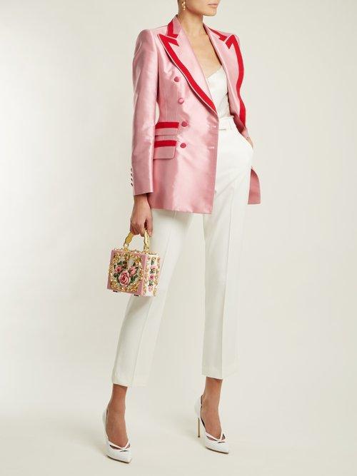 Contrast-trim double-breasted satin blazer by Dolce & Gabbana