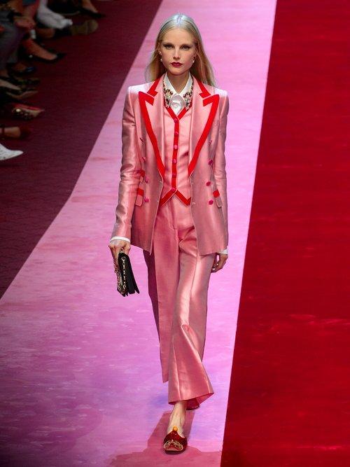 Contrast Trim Satin Waistcoat by Dolce & Gabbana