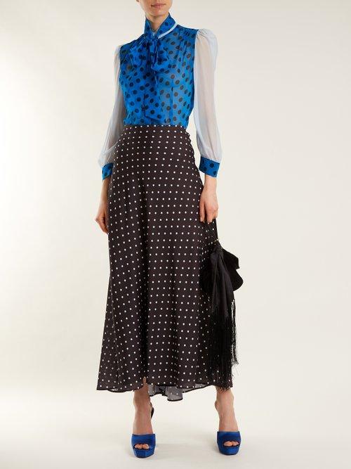 Pussy-bow polka-dot silk blouse by Edeltrud Hofmann