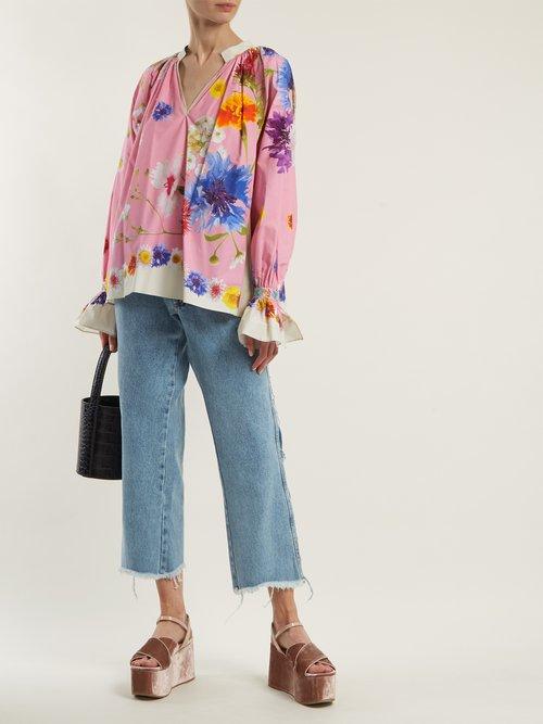 Floral-print cotton-poplin blouse by Natasha Zinko