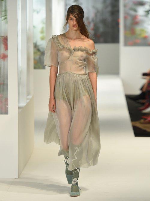 Jacinta one-shoulder silk-organza dress by Preen By Thornton Bregazzi