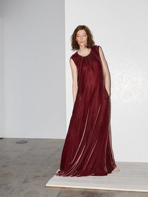 Gathered Neck Velvet Maxi Dress by Raey