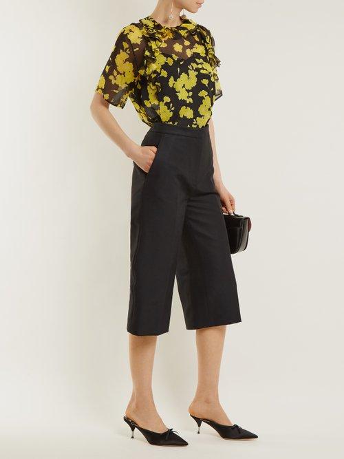 Floral-print silk-chiffon blouse by Rochas