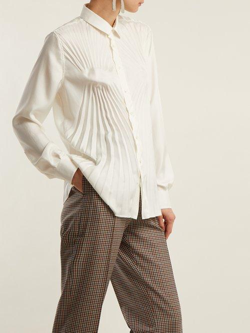 Pleated satin blouse by Maison Margiela