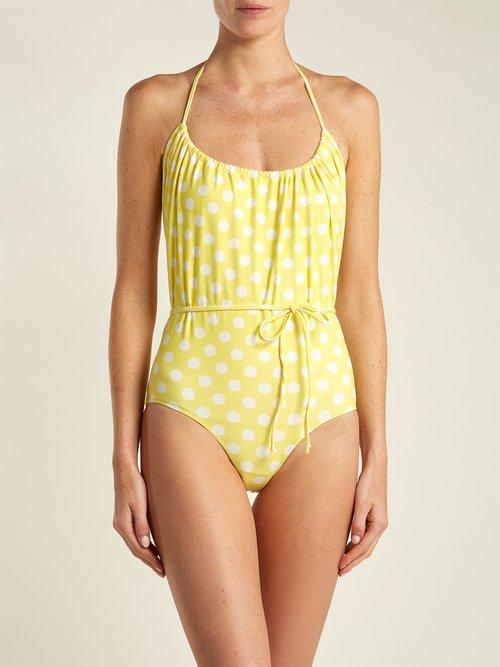 Charlotte polka dot-print halterneck swimsuit by Lisa Marie Fernandez