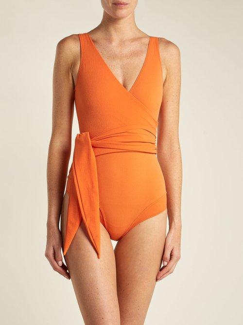 Dree Louise V-neck wrap swimsuit by Lisa Marie Fernandez