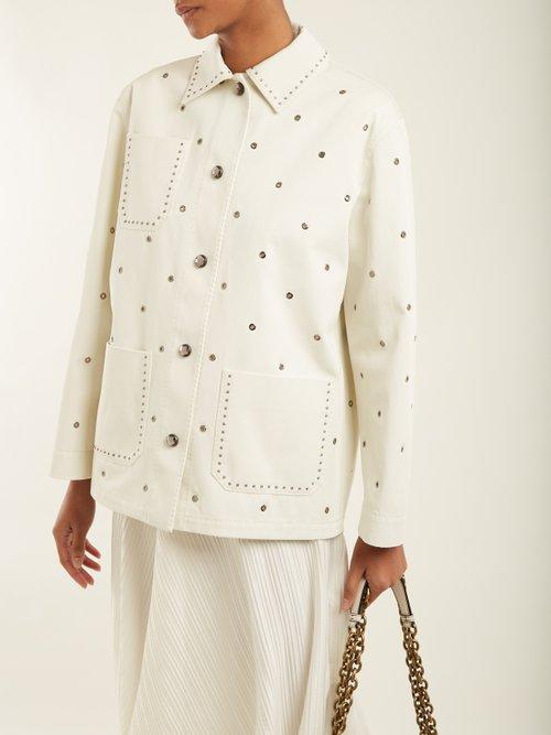Eyelet-detail cotton-twill jacket by Bottega Veneta