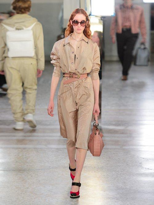 Tie Waist Silk Taffeta Shirtdress by Bottega Veneta