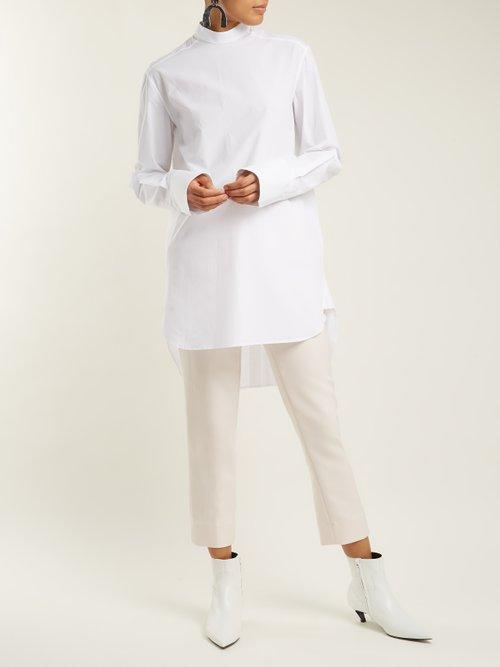 Mandarin-collar cotton-poplin shirt by Summa
