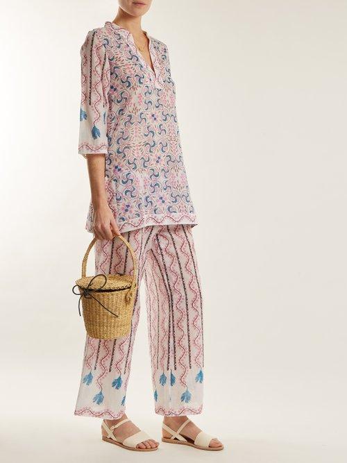 Giada Kantha Shell Print Long Sleeved Dress by Le Sirenuse, Positano