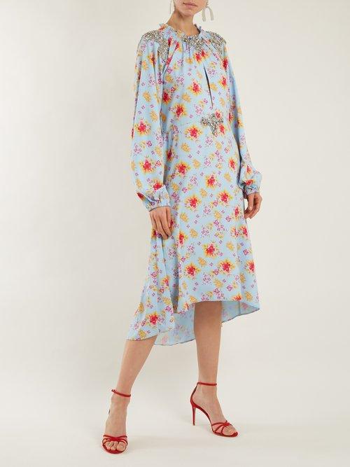 Marisa Floral Print Crystal Embellished Dress by Dodo Bar Or