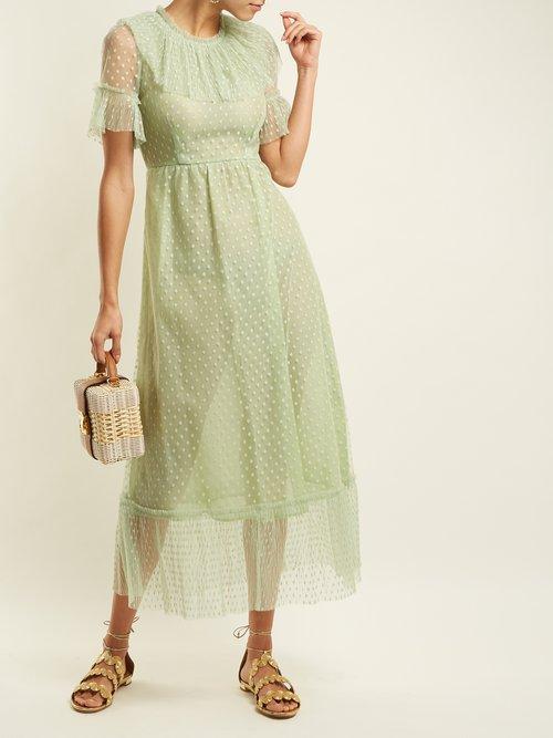 Shop Luisa Beccaria Polka dot tulle dress online sale