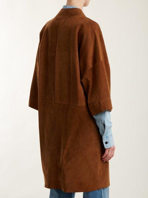 Kimono-sleeve suede coat by Giani Firenze
