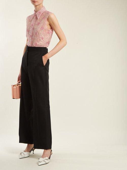 Floral Lace Point Collar Sleeveless Shirt by Miu Miu