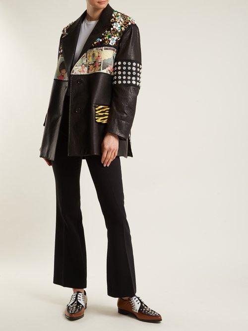 Stud-embellished leather derby shoes by Prada