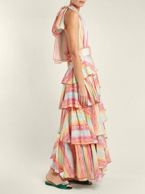 Striped halterneck tiered linen dress by