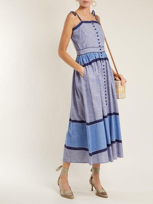 Striped Linen Cotton Midi Dress by