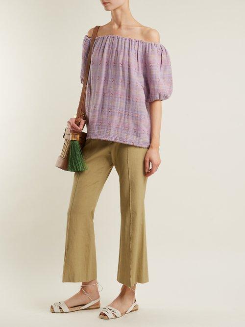 Gelato off-the-shoulder jacquard cotton-blend top by Ace & Jig