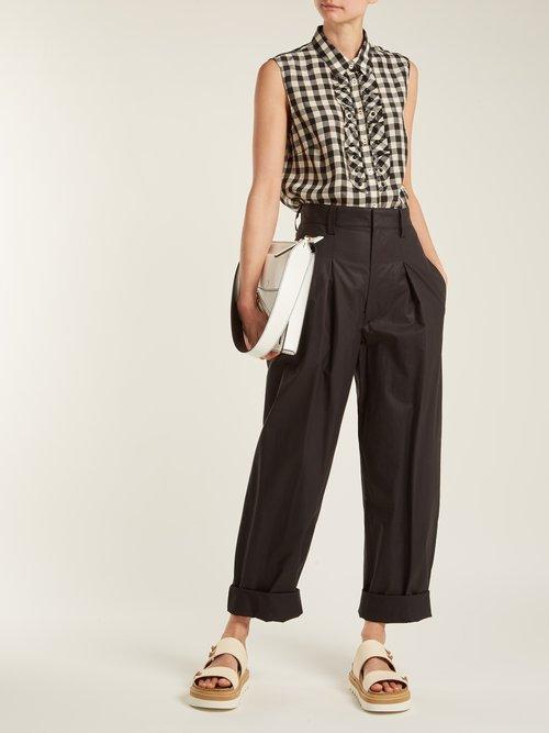 Gingham-print sleeveless shirt by Redvalentino