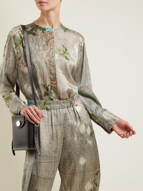 Celia Chrysanthemum-print silk top by By Walid