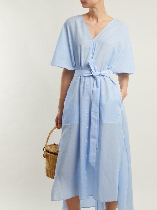 Striped tie-waist cotton dress by Palmer/Harding