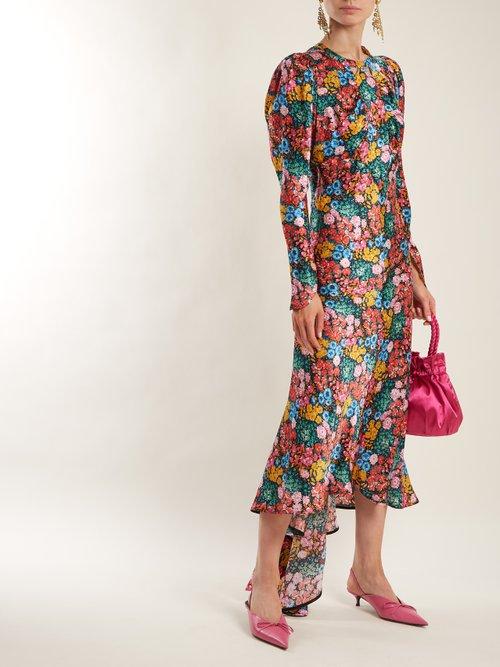 Floral-print bias-cut silk-satin dress by Attico