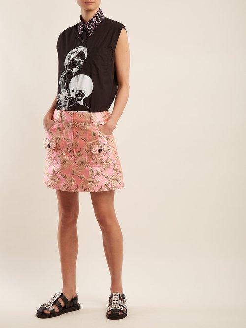 Comic-print cotton shirt by Prada