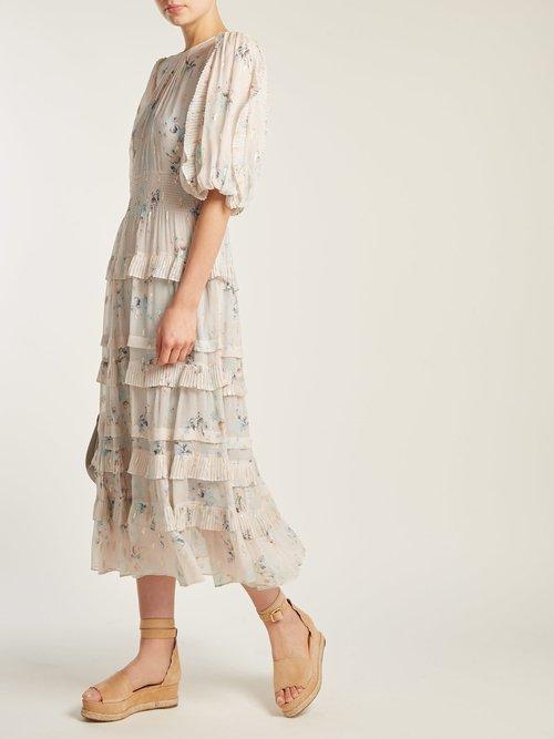 Shop Rebecca Taylor Floral-print crepe midi dress online sale