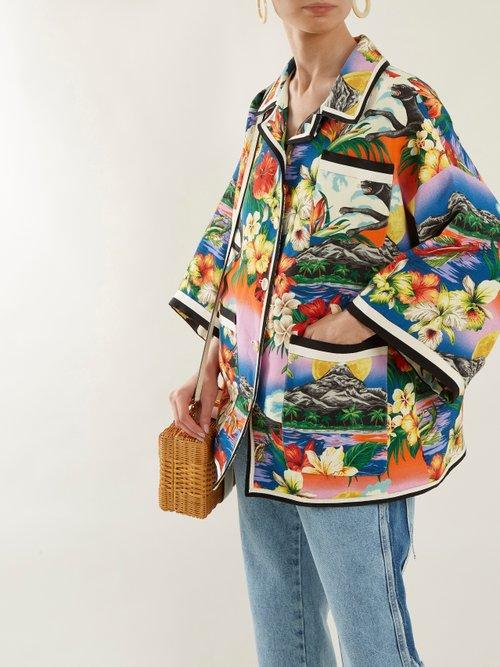 Hawaiian Print Oversized Linen Jacket by Gucci