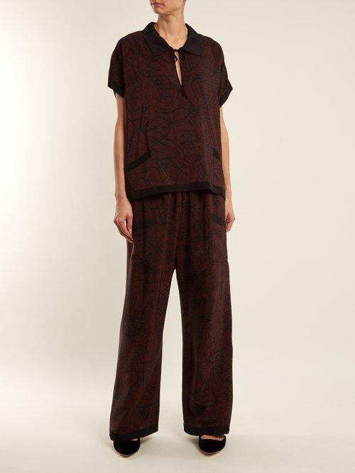 Squiggle-print silk-crepe pyjama top by Raey