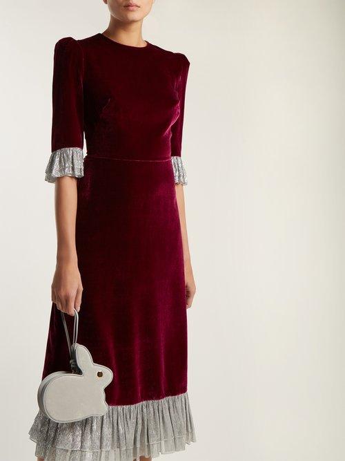 Falconetti ruffle-trimmed velvet dress by The Vampire'S Wife